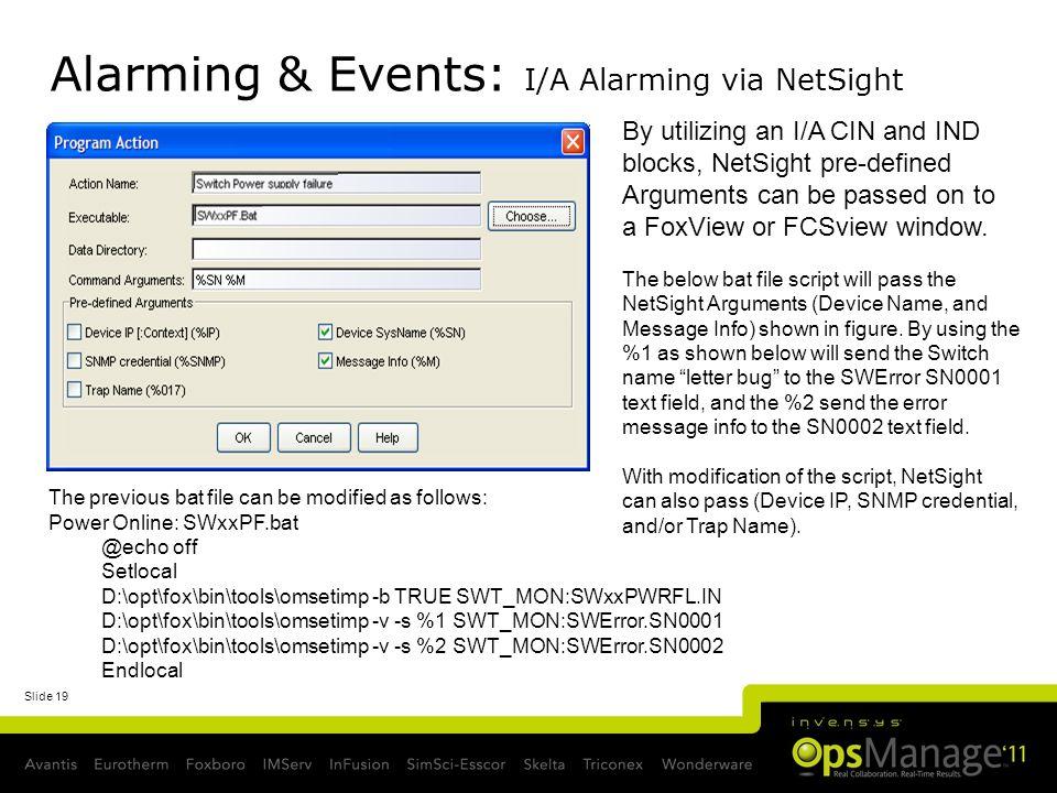 Alarming & Events: I/A Alarming via NetSight