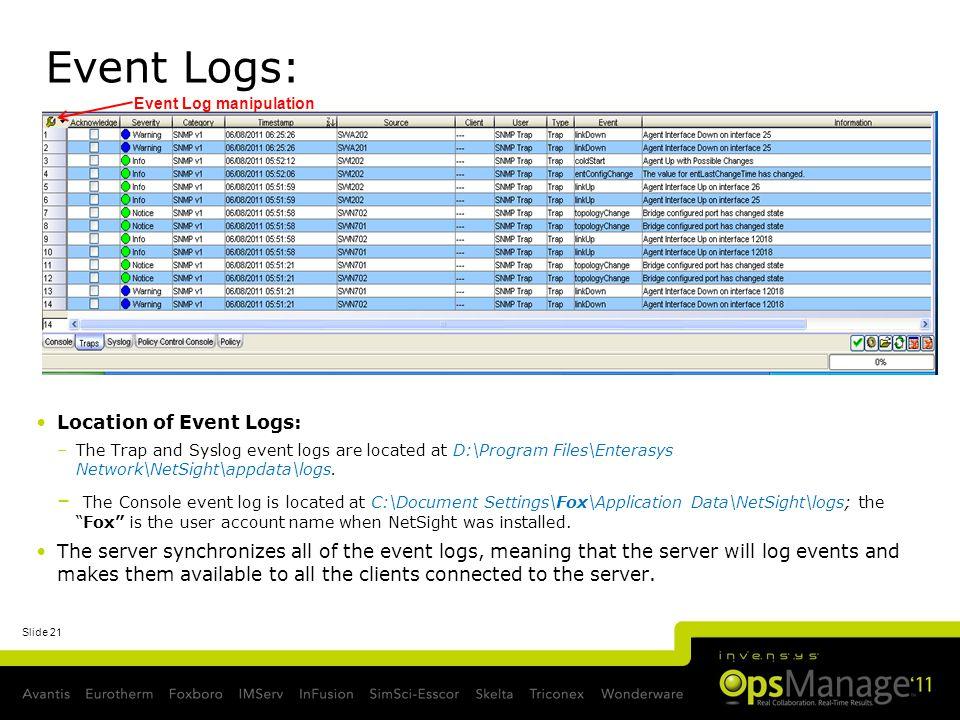 Event Logs: Event Log manipulation. Location of Event Logs: