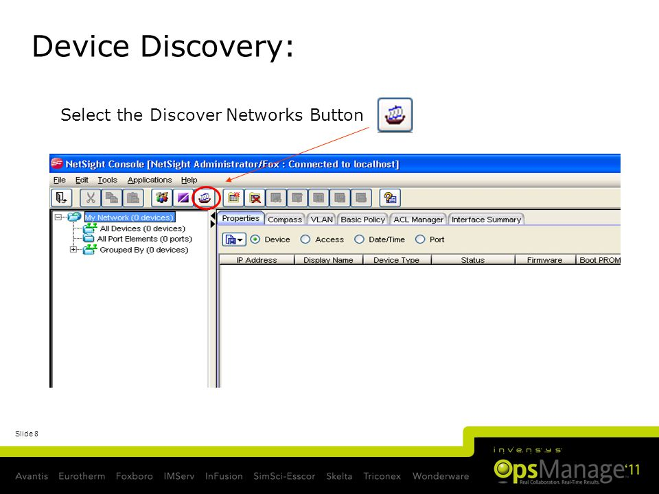 Device Discovery: Select the Discover Networks Button