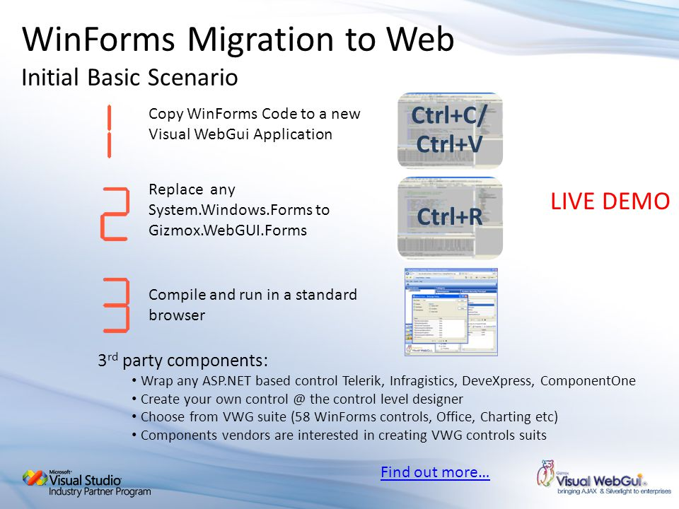 WinForms Migration to Web Initial Basic Scenario