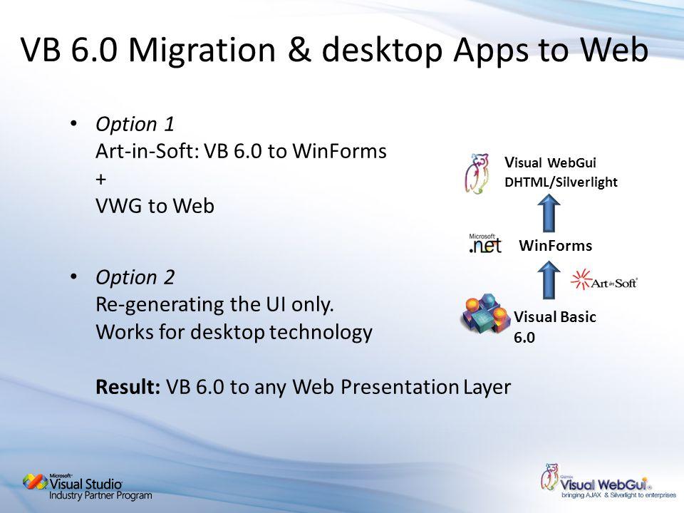 VB 6.0 Migration & desktop Apps to Web