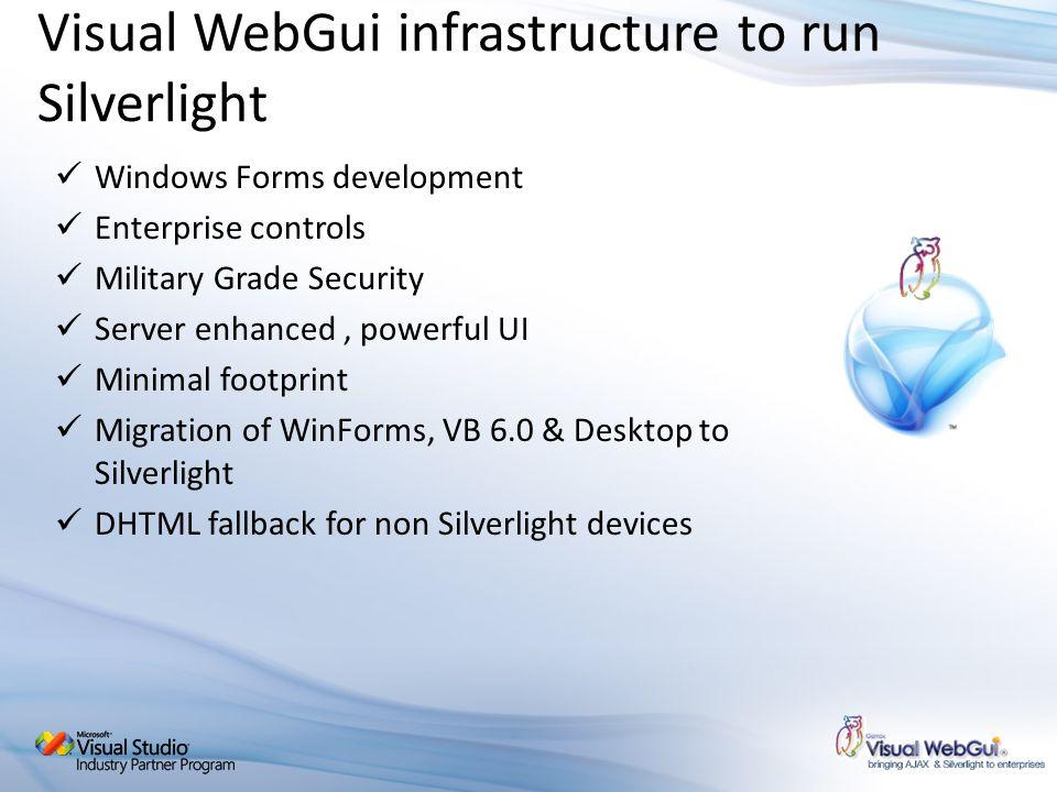 Visual WebGui infrastructure to run Silverlight