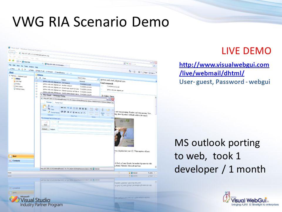 VWG RIA Scenario Demo LIVE DEMO