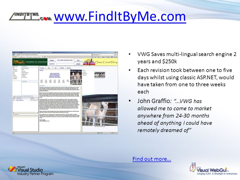 www.FindItByMe.com VWG Saves multi-lingual search engine 2 years and $250k.