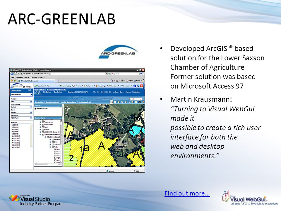 ARC-GREENLAB Developed ArcGIS ® based solution for the Lower Saxson Chamber of Agriculture Former solution was based on Microsoft Access 97.
