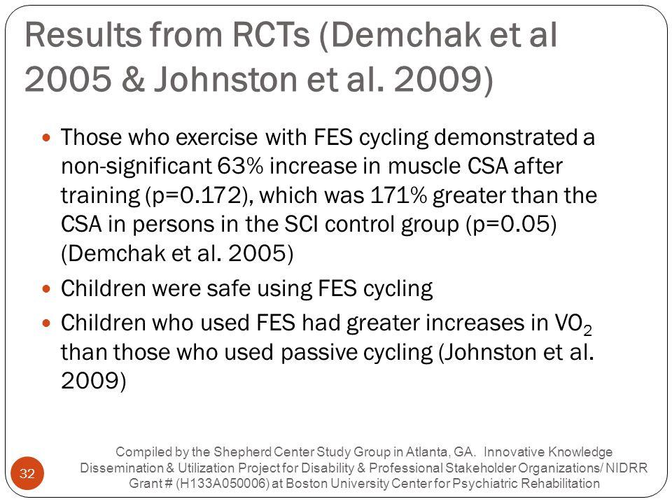 Results from RCTs (Demchak et al 2005 & Johnston et al. 2009)