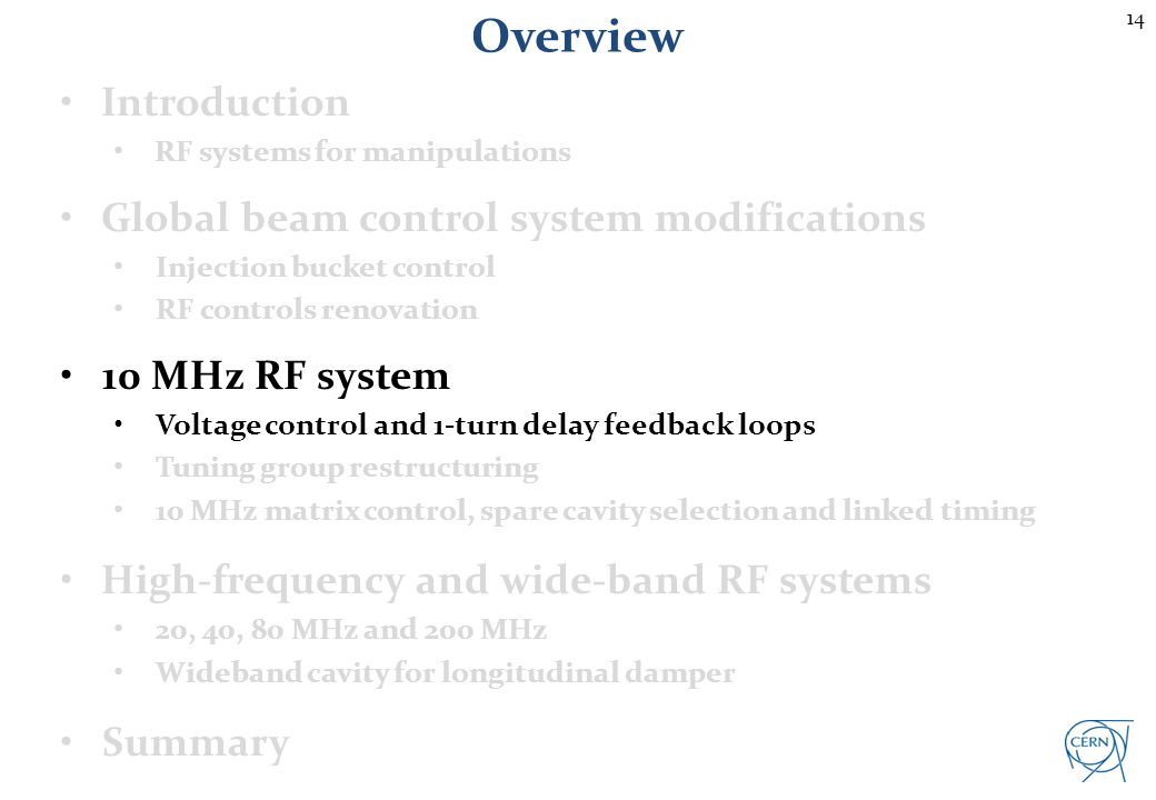 PS 10 MHz feedback overview