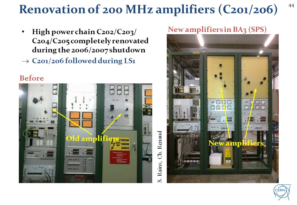 Renovation of 200 MHz amplifiers (C201/206)