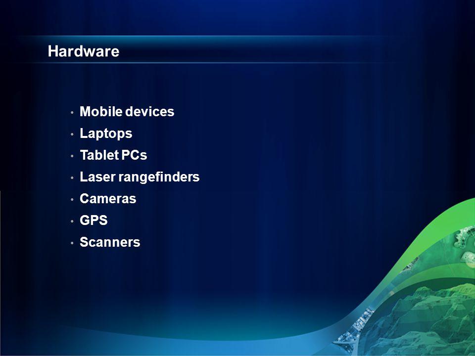 Hardware Mobile devices Laptops Tablet PCs Laser rangefinders Cameras