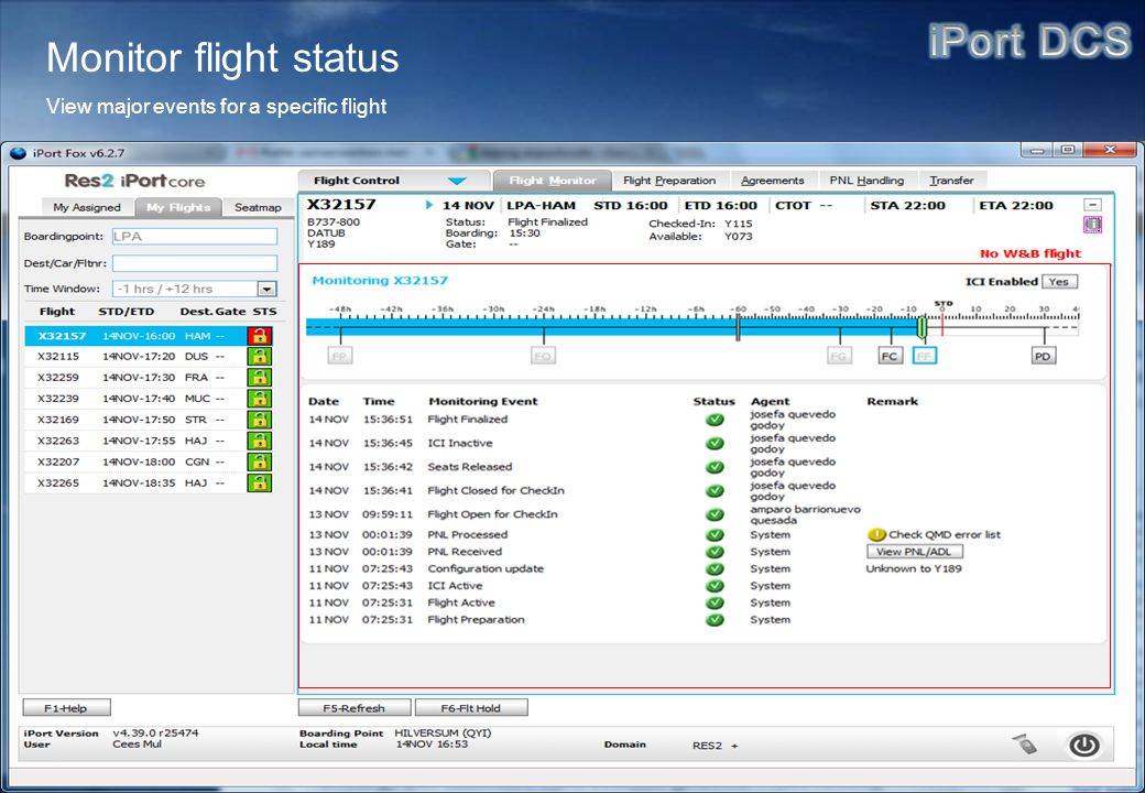 Monitor flight status View major events for a specific flight