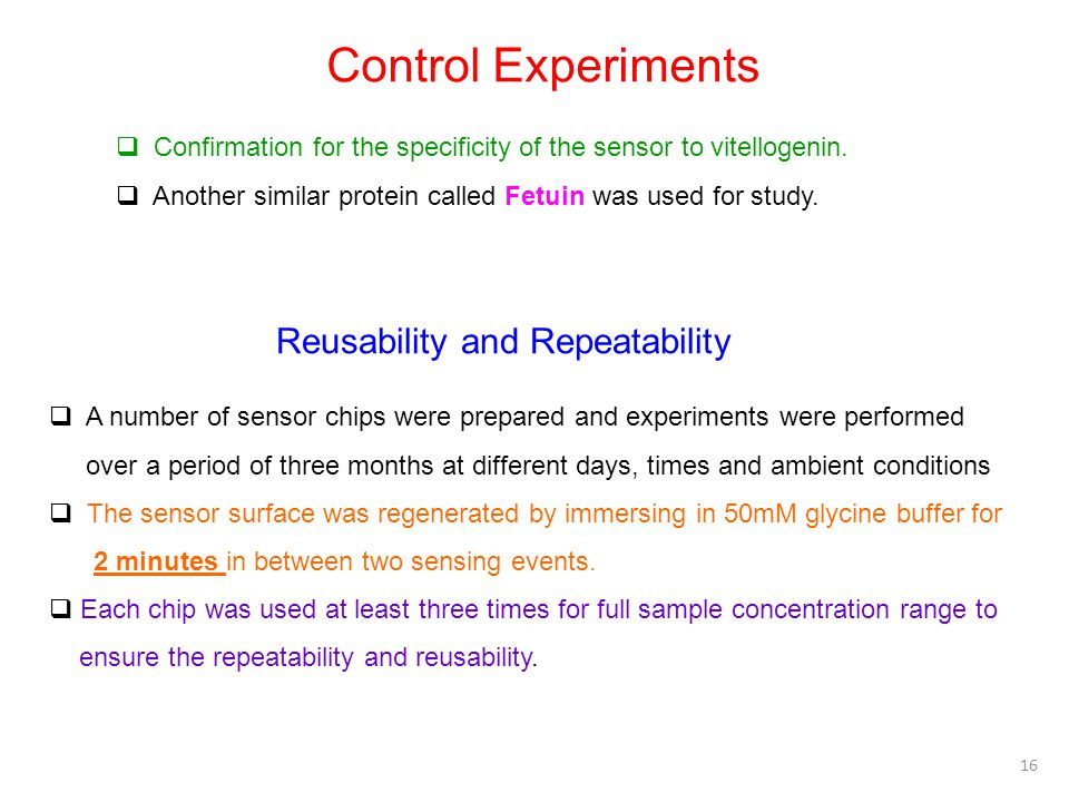 Control Experiments Reusability and Repeatability