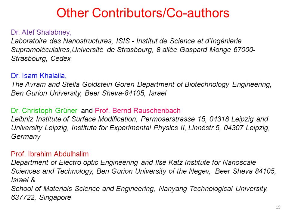 Other Contributors/Co-authors