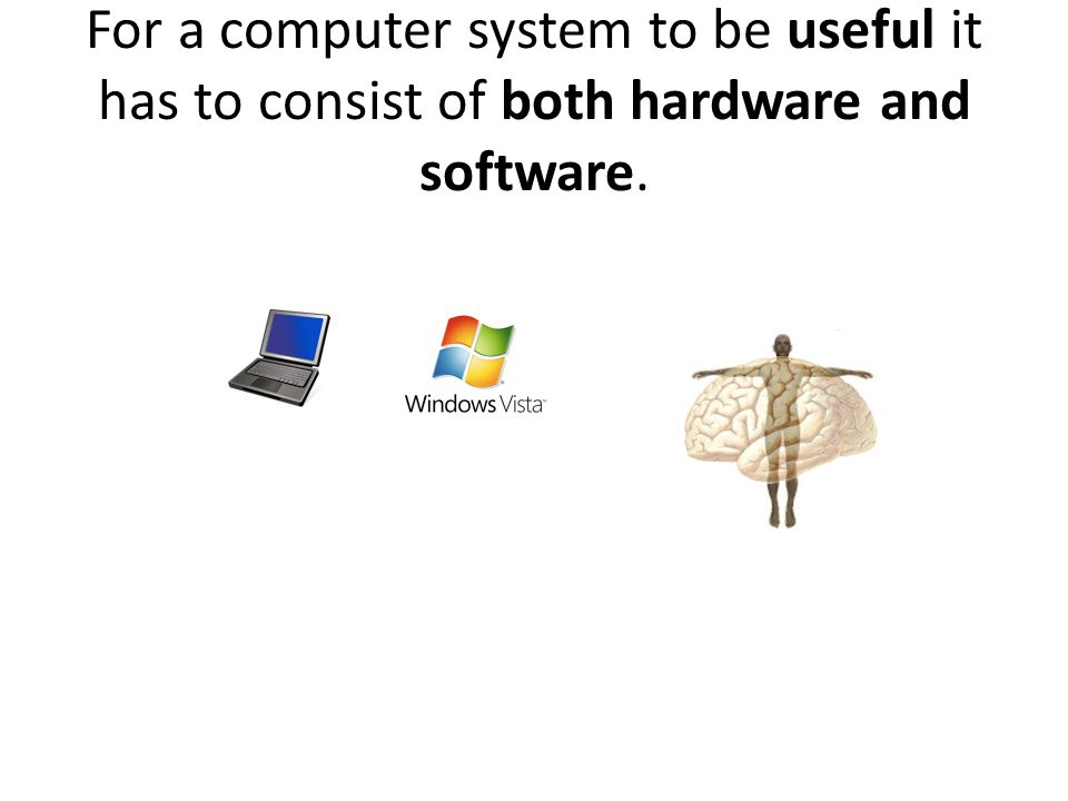 For a computer system to be useful it has to consist of both hardware and software.
