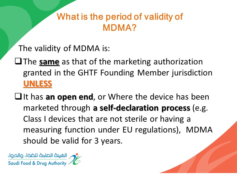What is the period of validity of MDMA