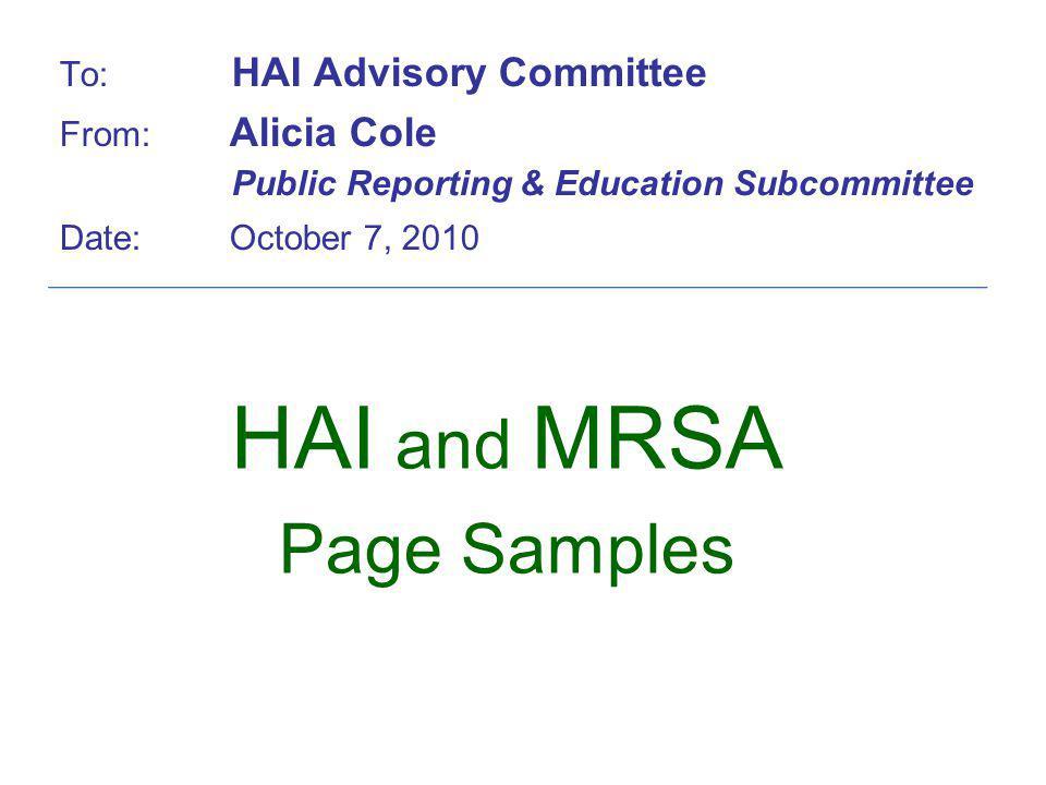 HAI and MRSA Page Samples