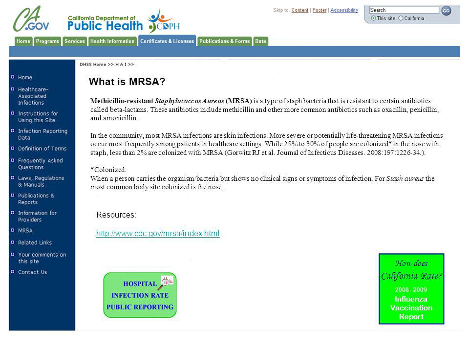 What is MRSA California Rate How does Resources: