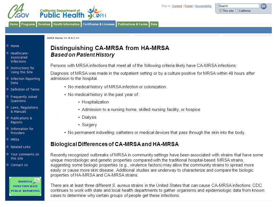 Distinguishing CA-MRSA from HA-MRSA