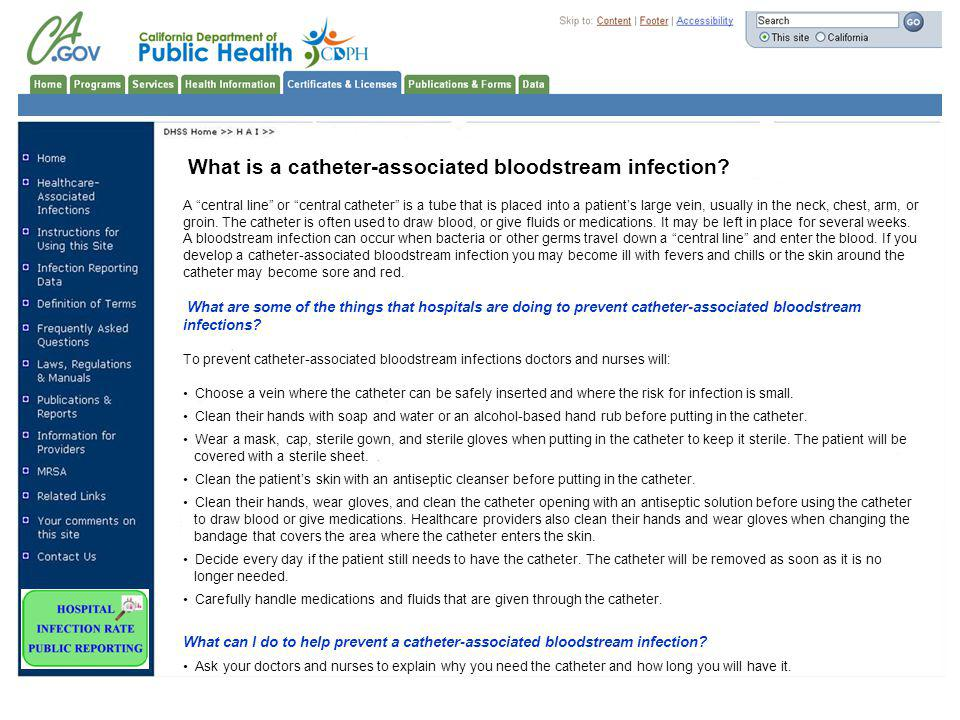 What is a catheter-associated bloodstream infection