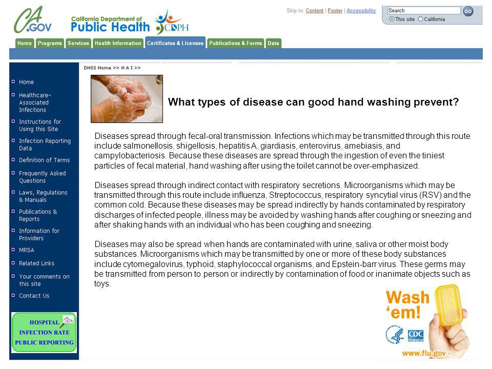 What types of disease can good hand washing prevent