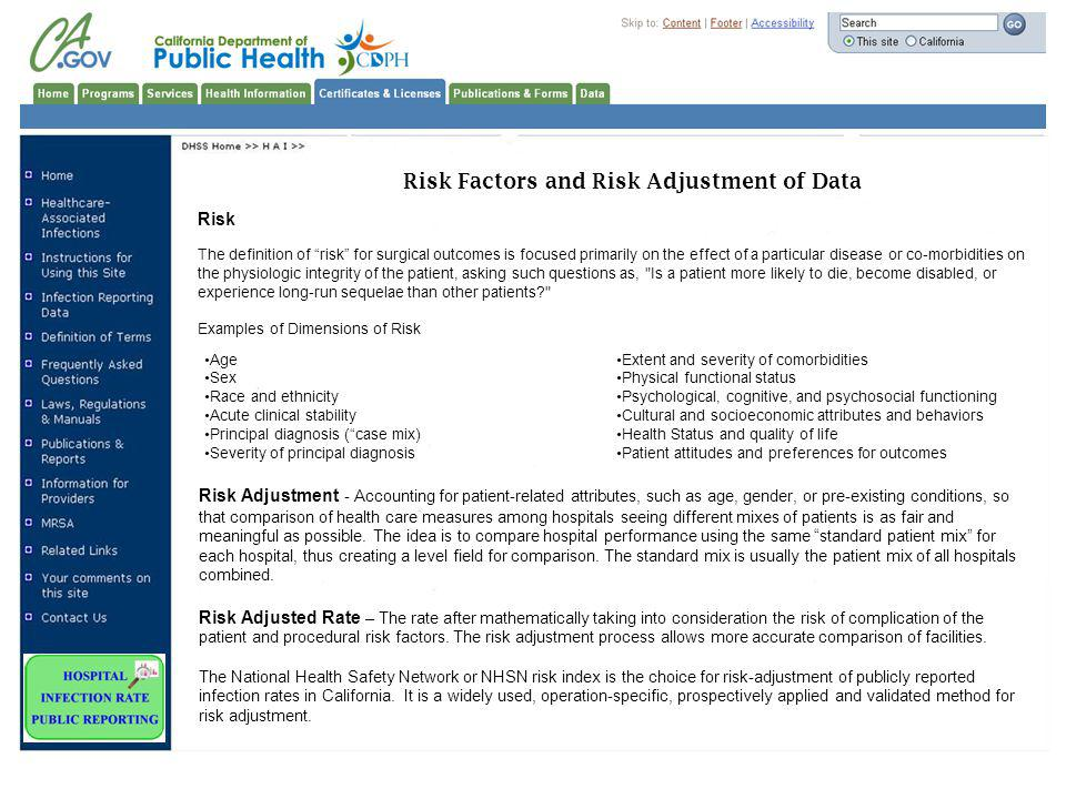 Risk Factors and Risk Adjustment of Data
