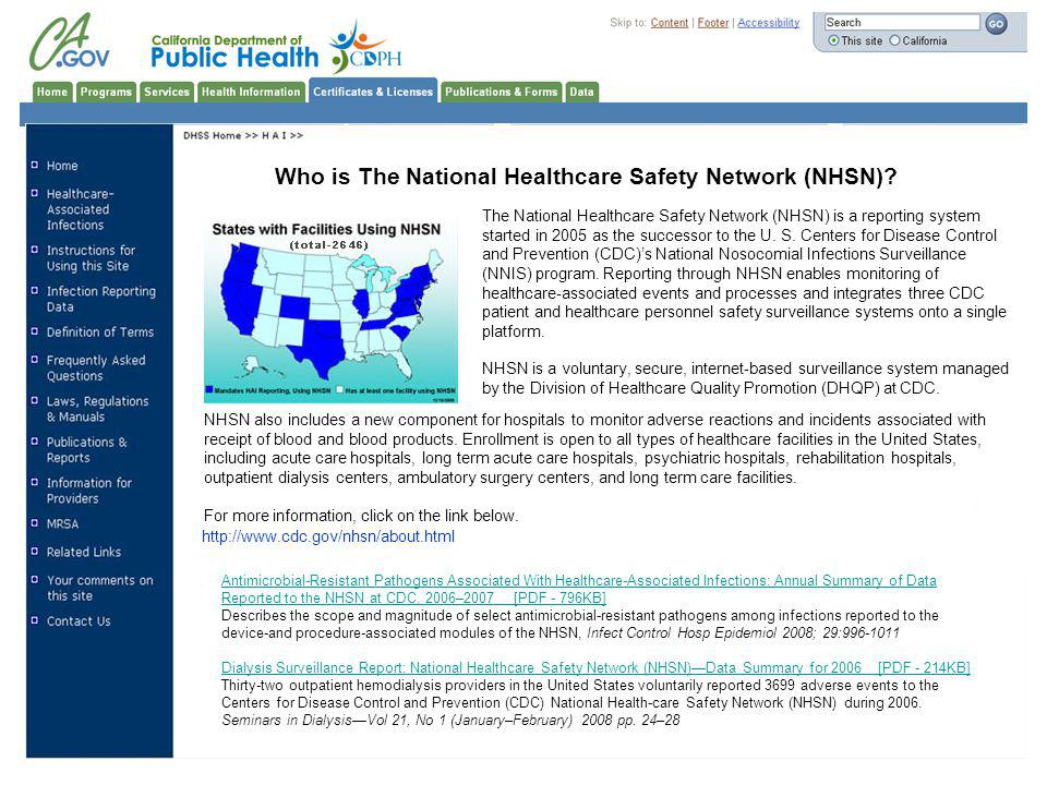 Who is The National Healthcare Safety Network (NHSN)