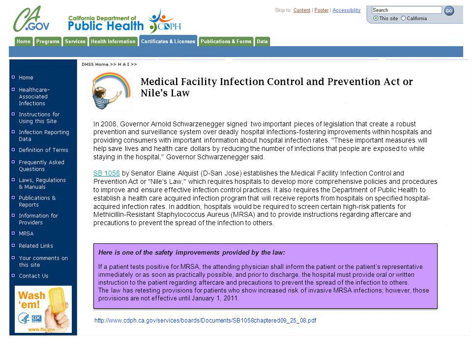 Medical Facility Infection Control and Prevention Act or Nile's Law