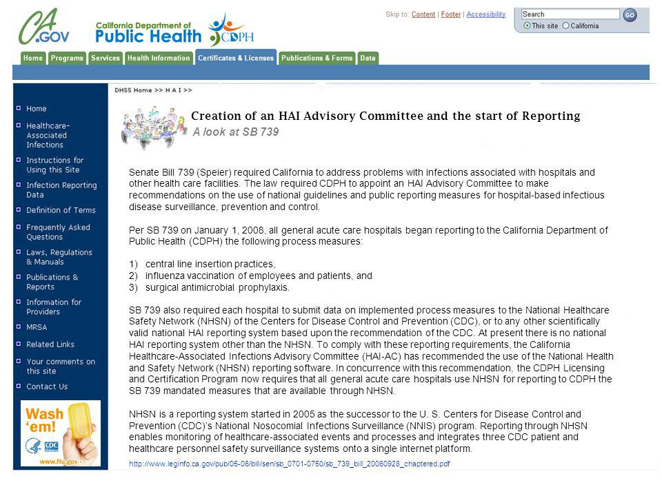 Creation of an HAI Advisory Committee and the start of Reporting