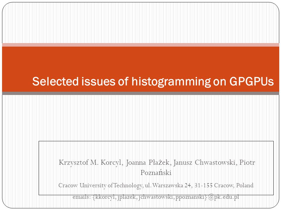 Selected issues of histogramming on GPGPUs