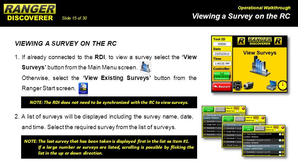 VIEWING A SURVEY ON THE RC