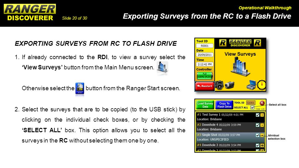 EXPORTING SURVEYS FROM RC TO FLASH DRIVE