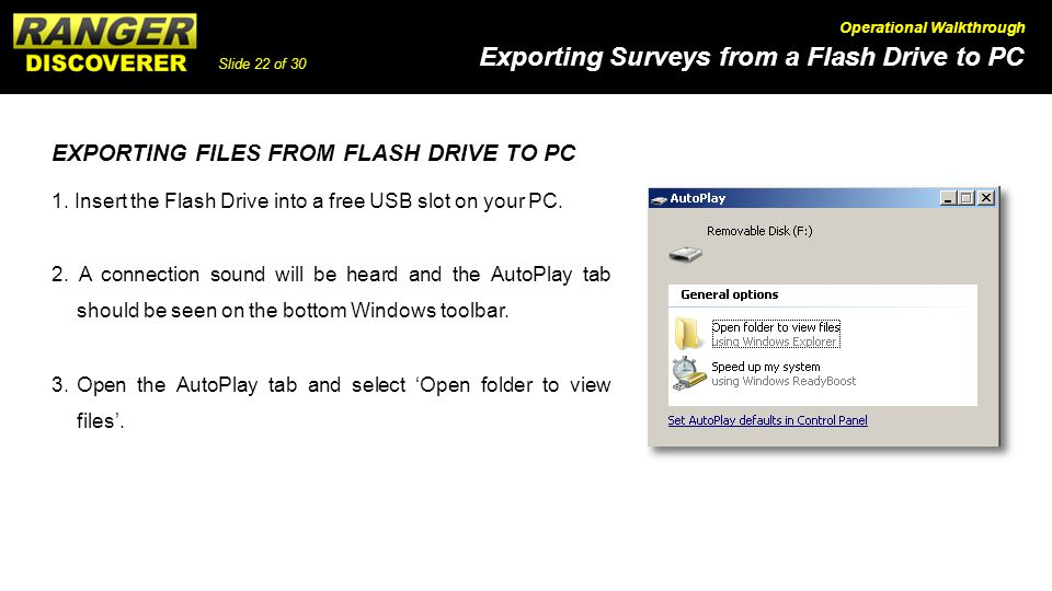 EXPORTING FILES FROM FLASH DRIVE TO PC