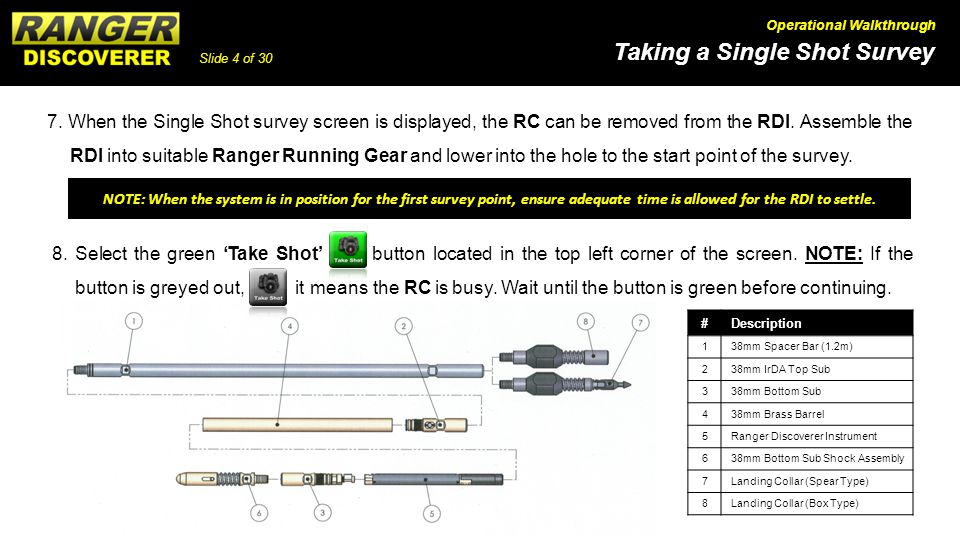 7. When the Single Shot survey screen is displayed, the RC can be removed from the RDI. Assemble the RDI into suitable Ranger Running Gear and lower into the hole to the start point of the survey.