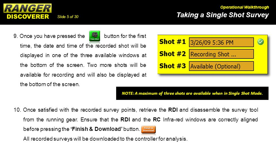 NOTE: A maximum of three shots are available when in Single Shot Mode.