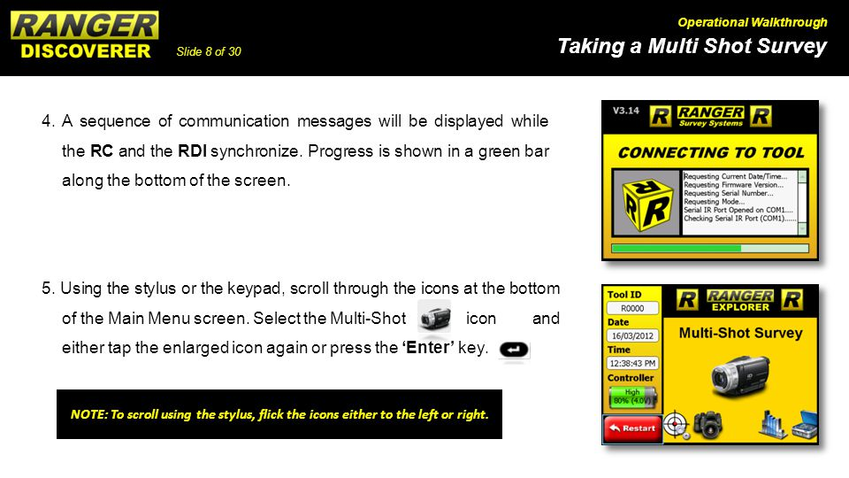 4. A sequence of communication messages will be displayed while the RC and the RDI synchronize. Progress is shown in a green bar along the bottom of the screen.