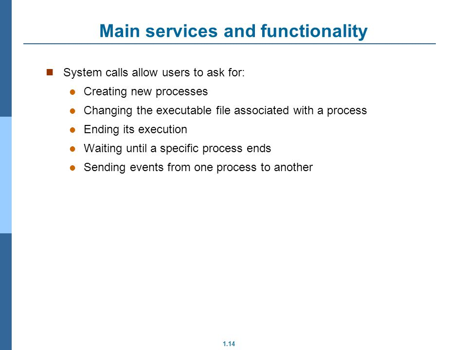 Main services and functionality
