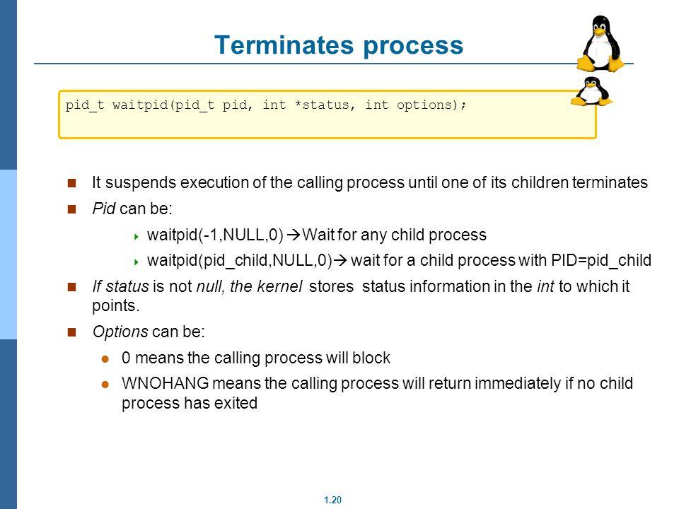 Terminates process pid_t waitpid(pid_t pid, int *status, int options);