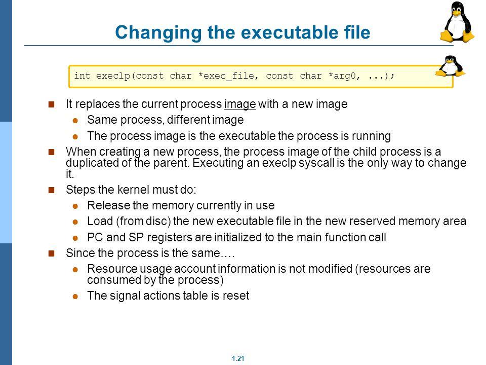 Changing the executable file