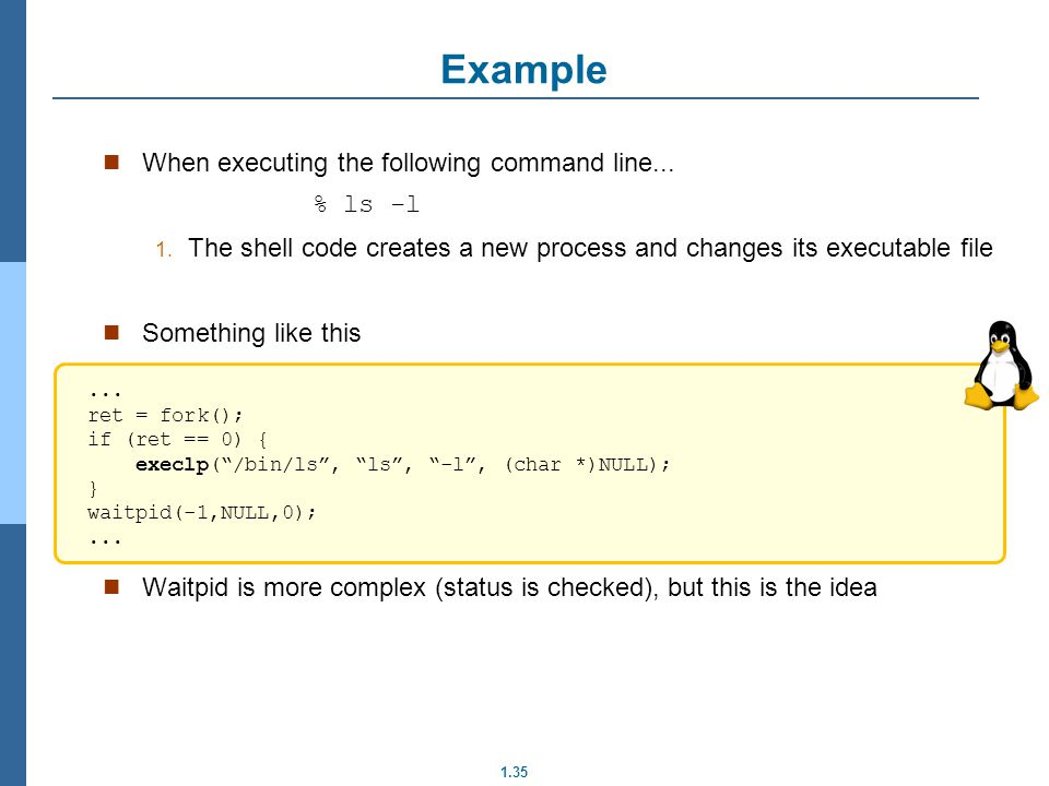 Example When executing the following command line... % ls -l