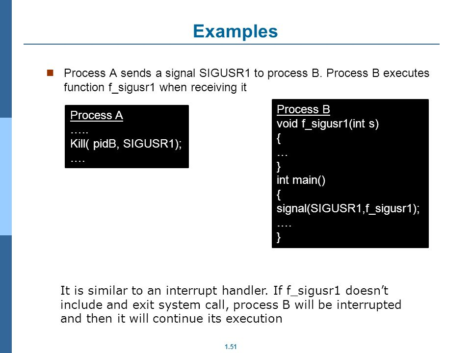 Examples Process A sends a signal SIGUSR1 to process B. Process B executes function f_sigusr1 when receiving it.