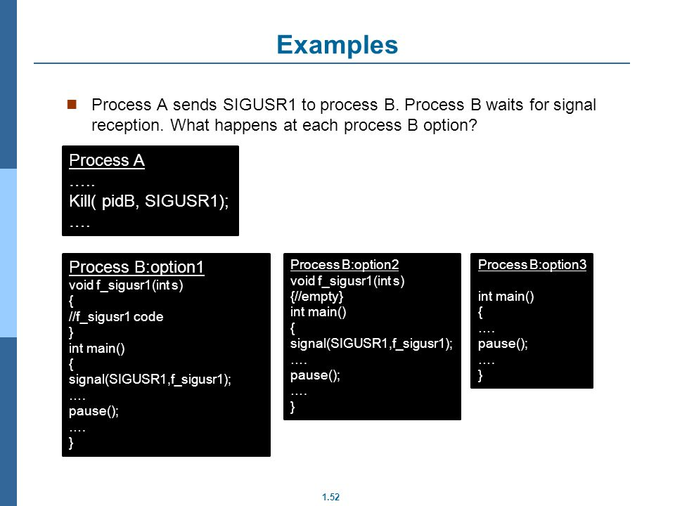 Examples Process A sends SIGUSR1 to process B. Process B waits for signal reception. What happens at each process B option