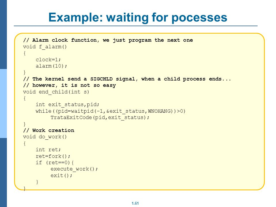 Example: waiting for pocesses