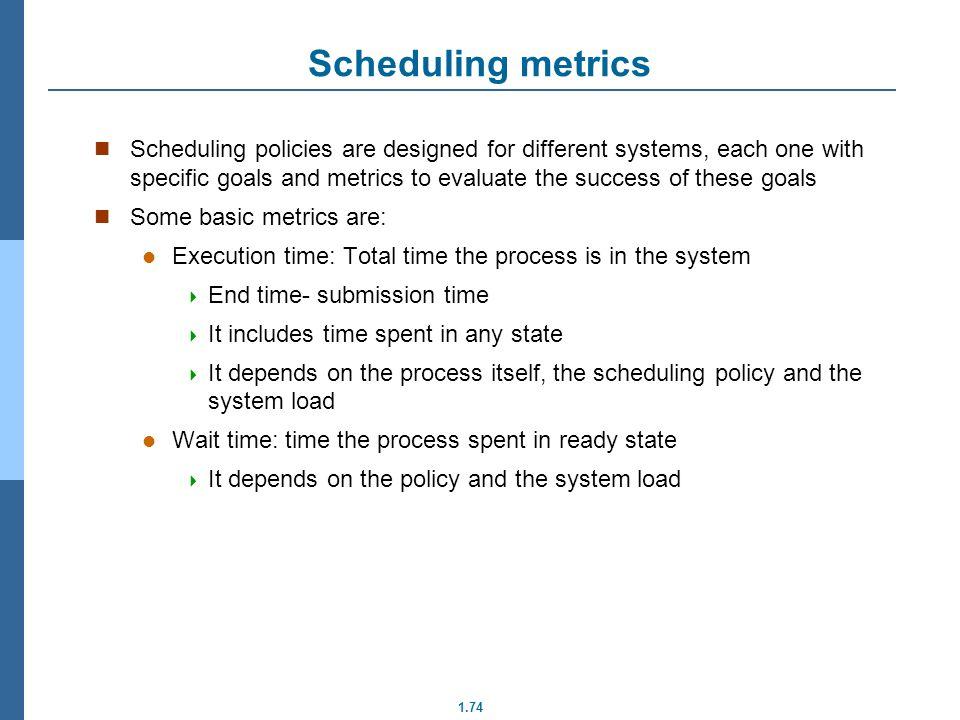 Scheduling metrics