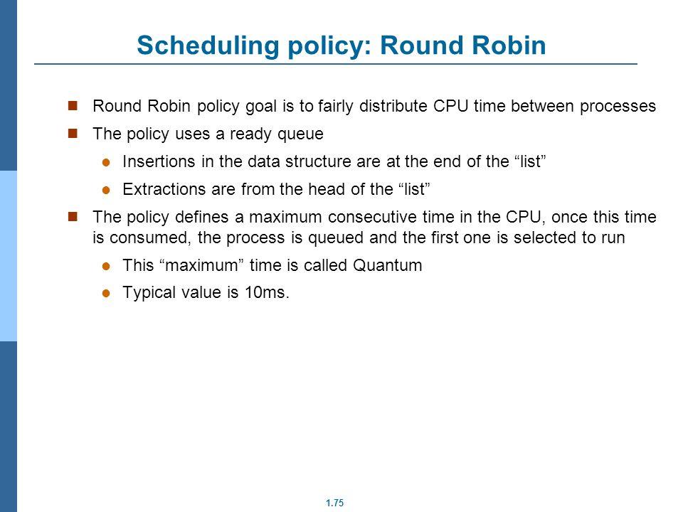 Scheduling policy: Round Robin
