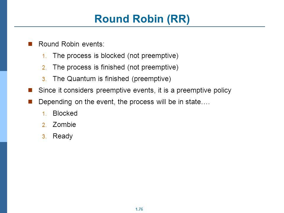 Round Robin (RR) Round Robin events: