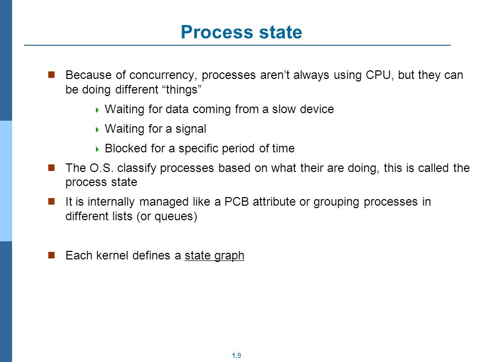 Process state Because of concurrency, processes aren't always using CPU, but they can be doing different things