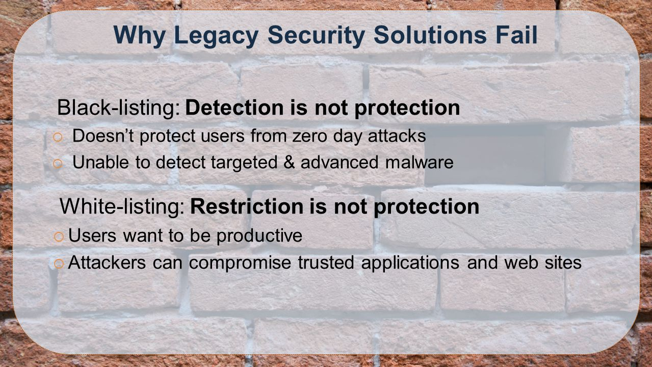 Why Legacy Security Solutions Fail