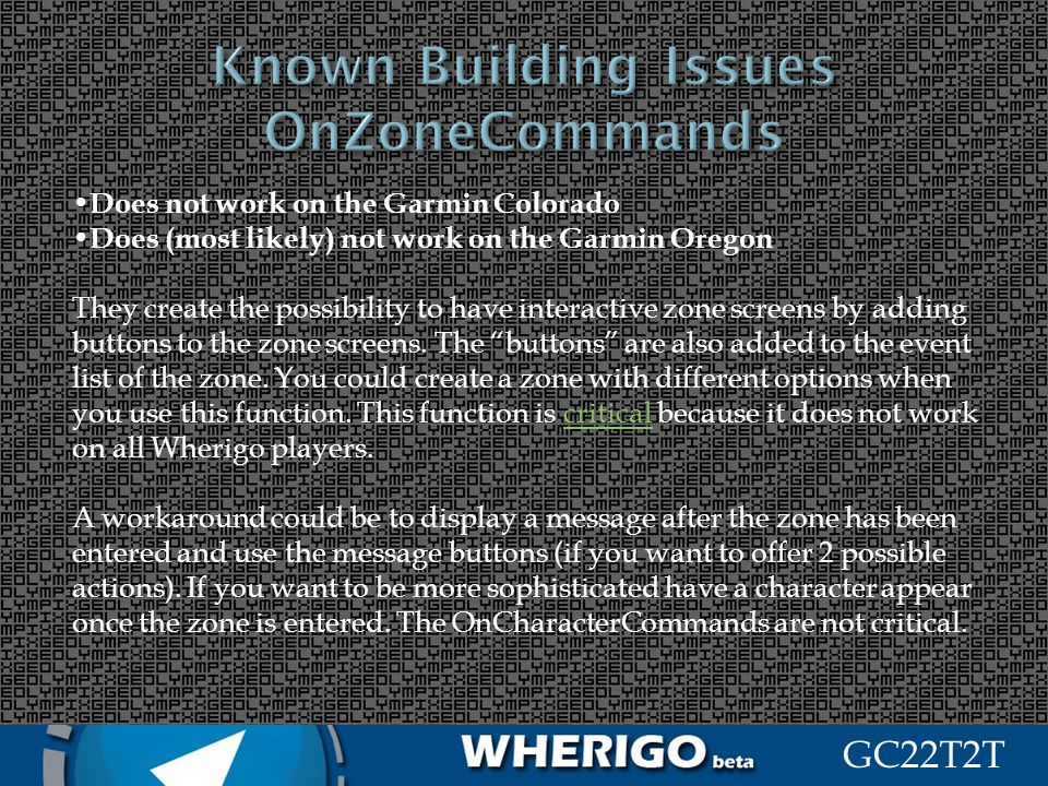Known Building Issues OnZoneCommands