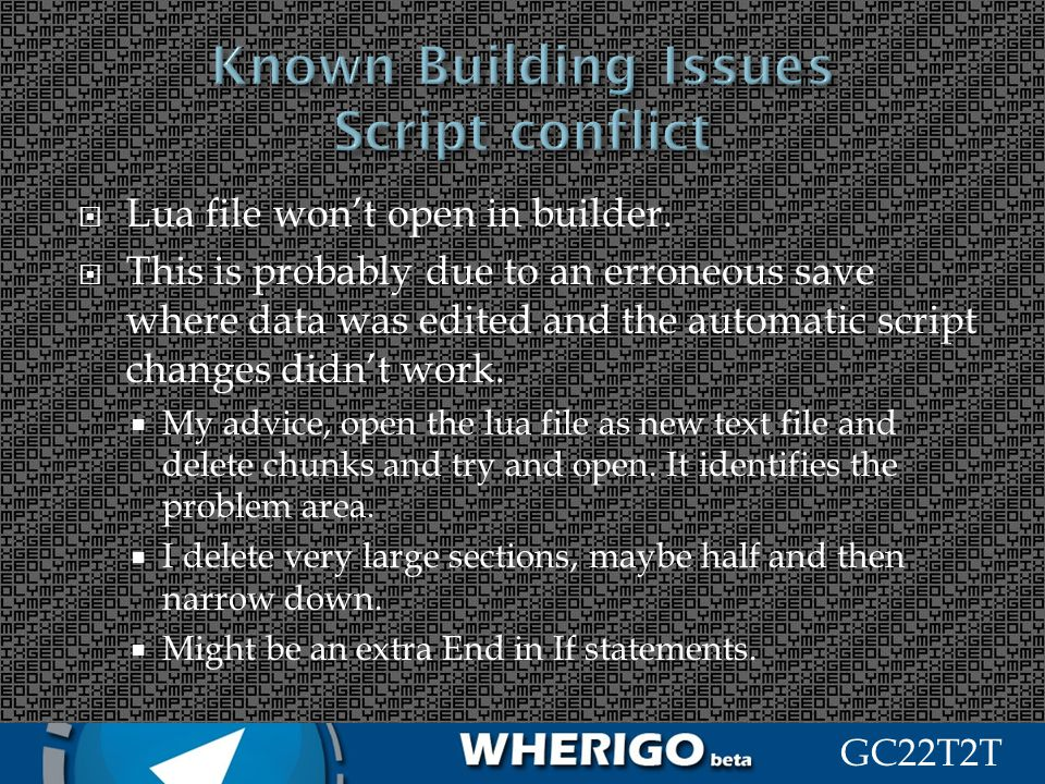 Known Building Issues Script conflict