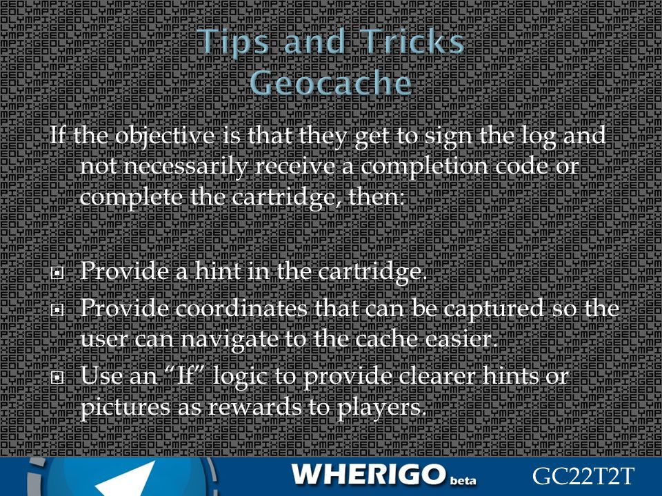 Tips and Tricks Geocache
