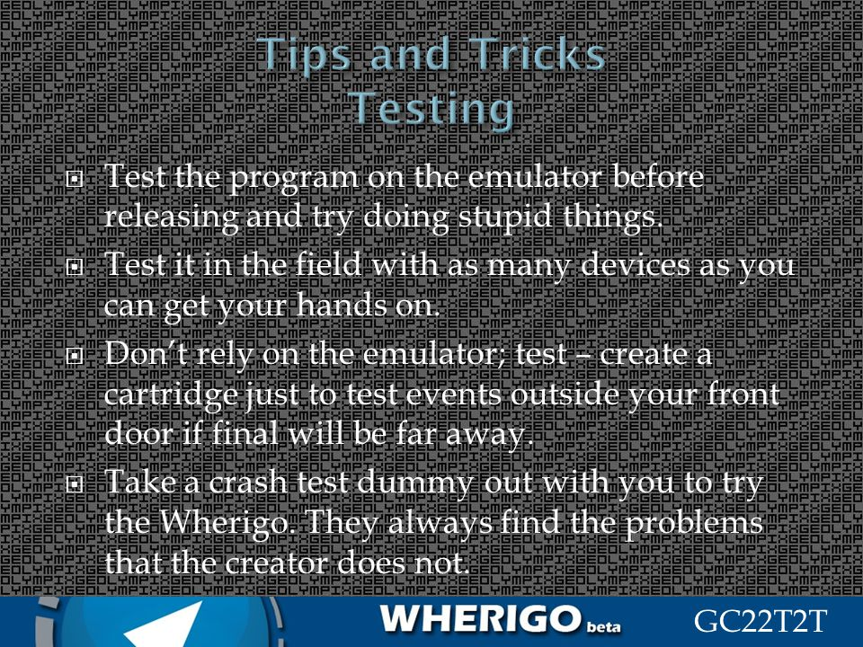 Tips and Tricks Testing